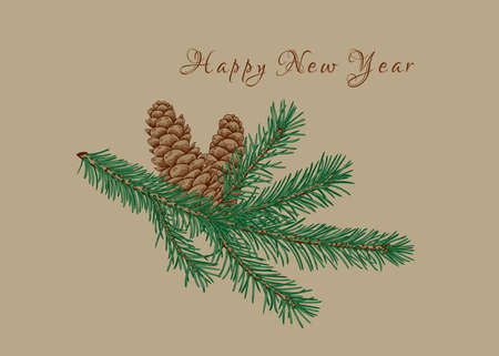 Botanical card with fir branch and cones. Vector illustration. Beige background and colorful pattern. Vetores