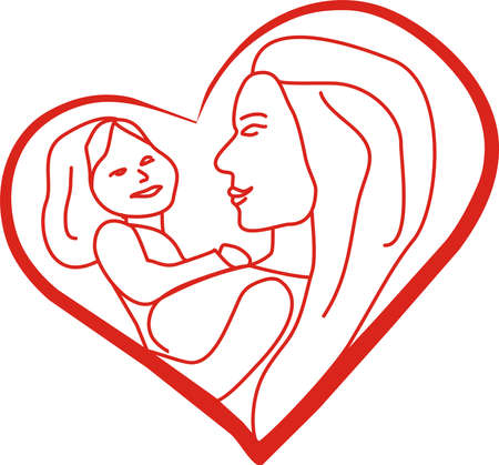 illustration with mother and daughter on his lap inside a heart. Can serve for several days of campaigns mothers who want a ill. Stock Vector - 6827610