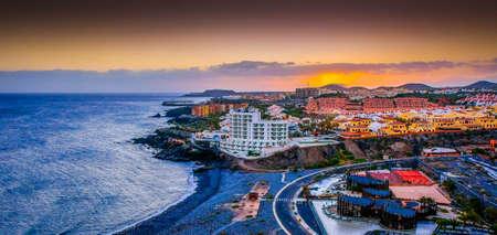 bird's eye view: Beautiful birds eye view sunset Canary Islands