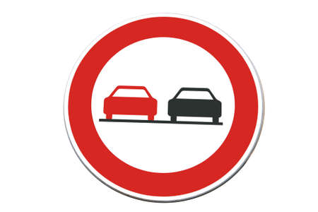trafic stop: Traffic sign - two cars isolated on white