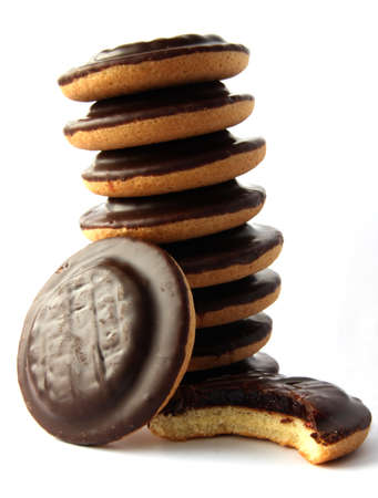 Jaffa cakes - traditional sweet cookies covered with chocolate and filled with jam photo