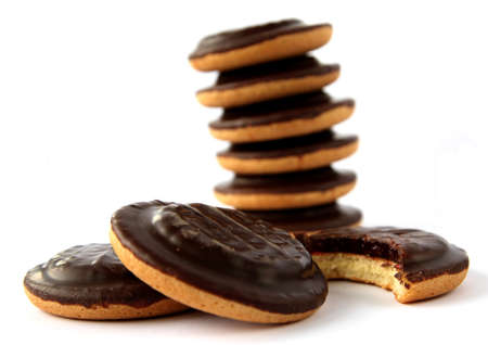 Jaffa cakes - traditional sweet cookies covered with chocolate and filled with jam Stock Photo