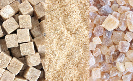 unrefined: Cane sugar and sugar cubes - three types - collage Stock Photo