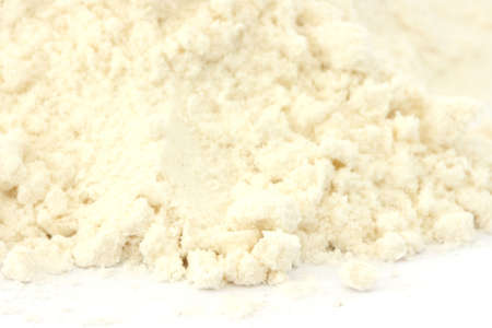 Close up view of smooth flour on white background