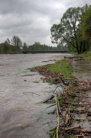 Flooding river Olza in Czech Republic photo
