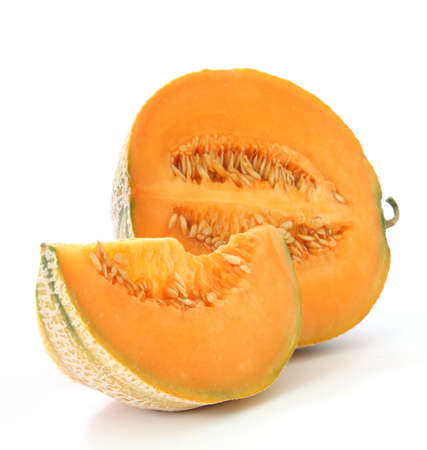 Orange cantaloupe watermelon - north america melon type Stock Photo