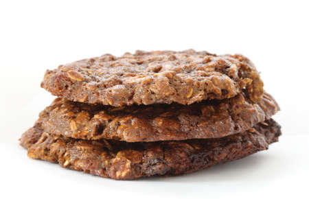 Stack of home made oatmeal cookies with molasses photo