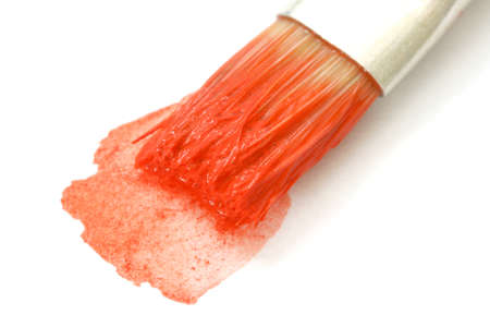 noone: Brush in red water-color Stock Photo