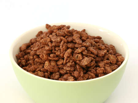 Chocolate popped rice cereals in a bowl photo