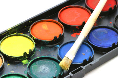 noone: Used water color paint box with a brush close up Stock Photo