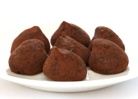 Chocolate truffle pralines sweets covered in cocoa powder on white plate and backgroun