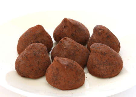 Chocolate truffle pralines sweets covered in cocoa powder on white plate