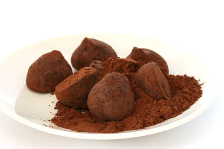 pralines: Chocolate truffle pralines sweets covered in cocoa powder on white plate and backgroun