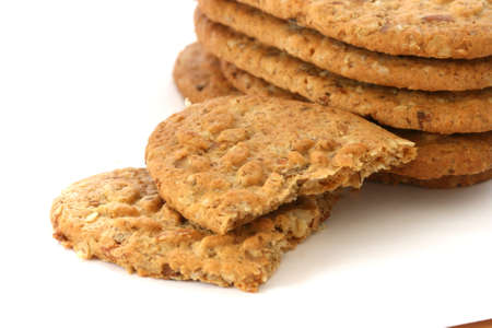 noone: Stack of whole grain biscuits on white background Stock Photo