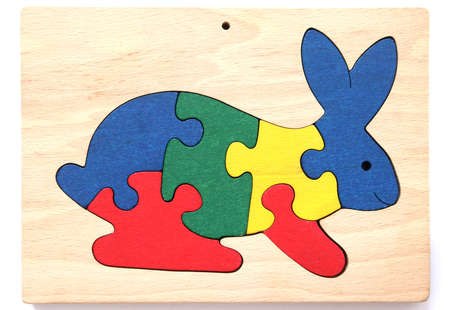 noone: Colorful wooden rabbit puzzle toy