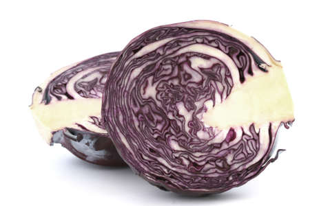 Inside raw red cabbage halves close up on white background photo