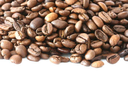 noone: Whole coffee beans scattered on white background Stock Photo