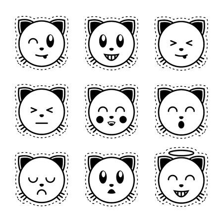 kitty cat: Emoji cat. Black and white emoji.