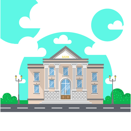 Facade of a bank building with columns. Flat style vector illustration isolated on white background