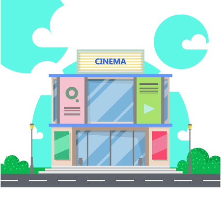 Movie Theater Cinema Building Flat Style Vector Illustration Isolated On White Background Stock