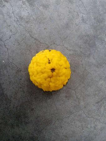 kafir lime: Yellow kafir lime on cement background