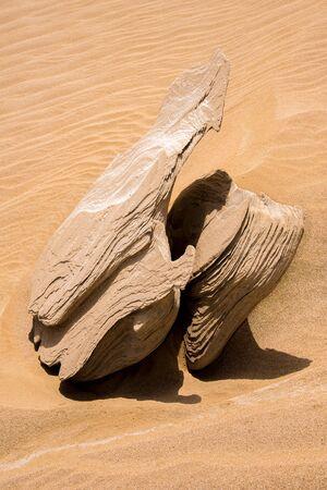Fossil dunes in arid desert, Al wathba Stock Photo