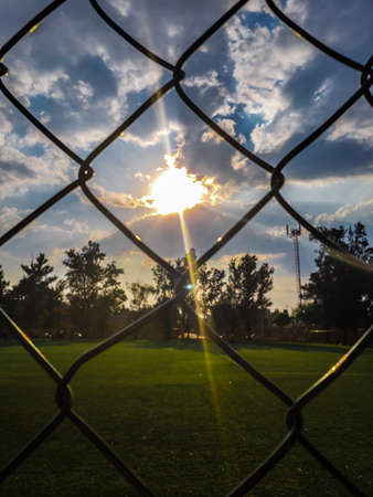 Sunset on the soccer field