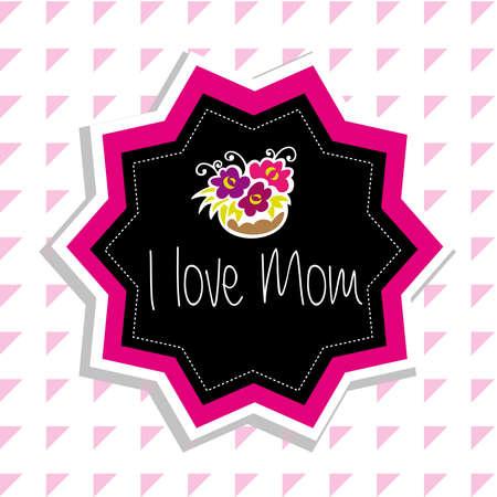 i love mom flowers Vector