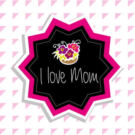 i love mom flowers Vector