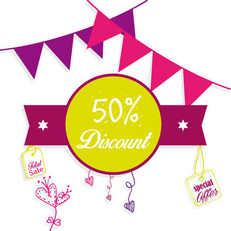 50% discount with festoons Illustration