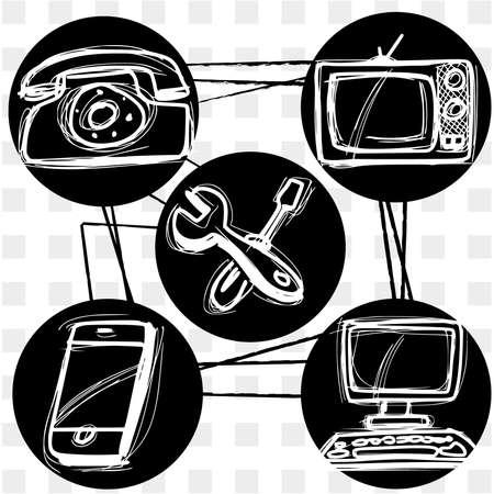 tecnology pictogrammen Vector Illustratie