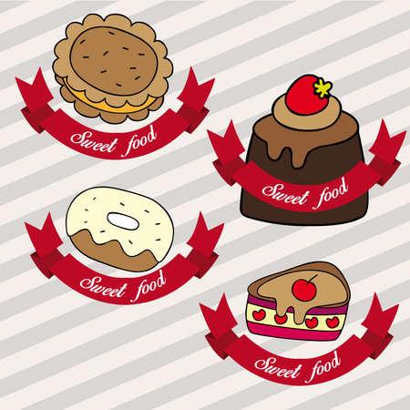 甘い食べ物: 甘い食べ物のロゴ  イラスト・ベクター素材