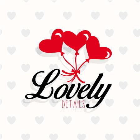 details: Details of love heart balloons  Illustration