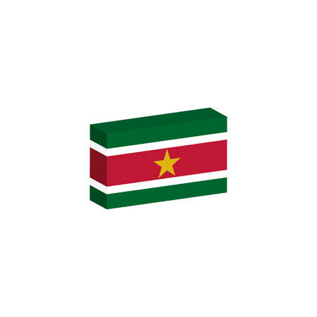 3d isometric flag Illustration of the country of Suriname Иллюстрация