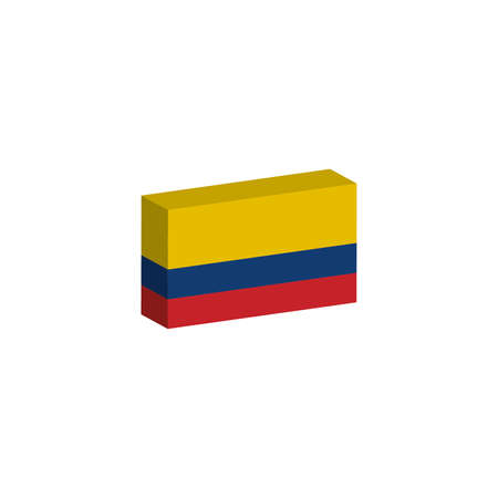 3d isometric flag Illustration of the country of Colombia