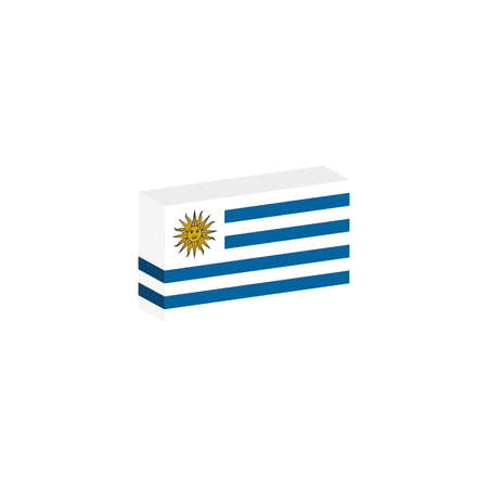 3d isometric flag Uruguay country Иллюстрация