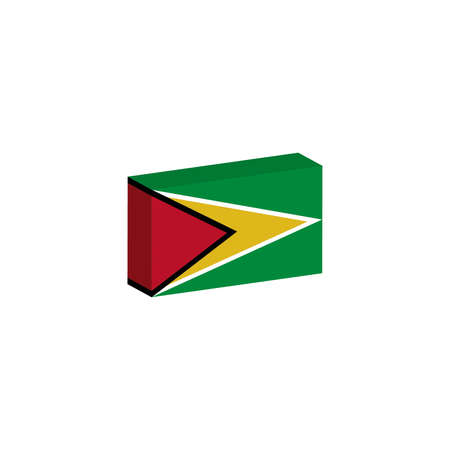 3d isometric flag illustration of guyana country
