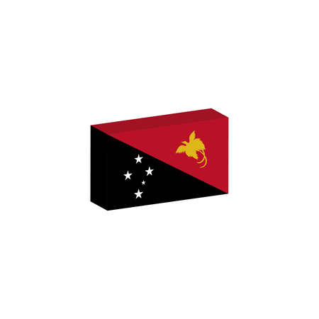 3D isometric flag Illustration of papua new guinea country