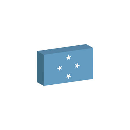 3d isometric flag Illustration of the country of Micronesia