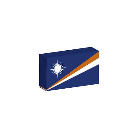 3d isometrische vlag Illustratie van het land van de Marshalleilanden