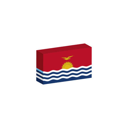 3d isometric flag Illustration of country of Kiribati