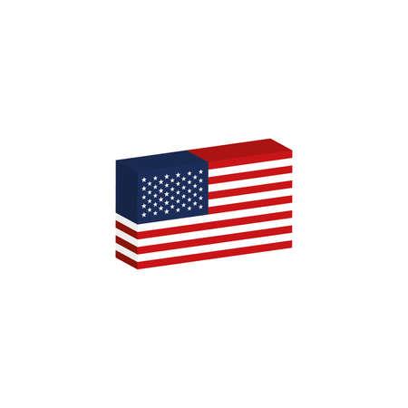 3d 아이소 메트릭 플래그 미국 국가 그림 일러스트