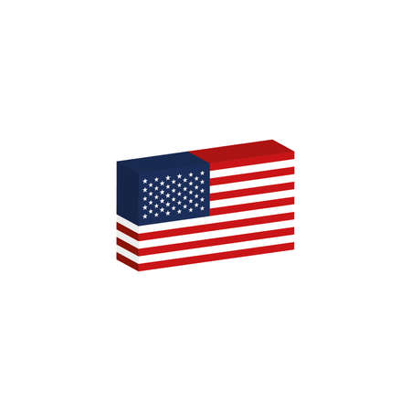 3d isometric flag United States country illustration Иллюстрация