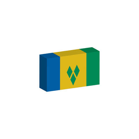 3d isometric flag Illustration of the country of Saint Vincent and the Grenadines Иллюстрация
