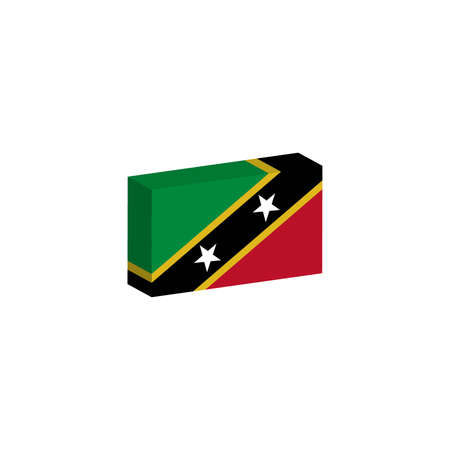 3d isometric flag Illustration of the country of Saint Kitts and Nevis