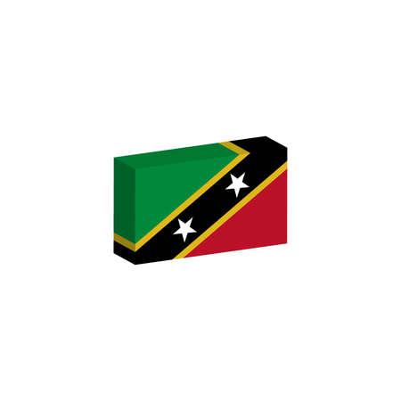 3d isometrische vlag Illustratie van het land van Saint Kitts en Nevis