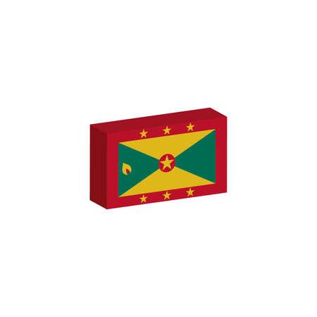 3D isometrische vlag Illustratie van het land van Grenada