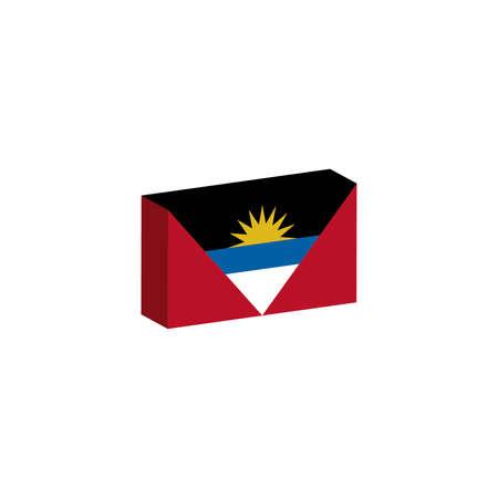 3D Vlag van Antigua en Barbuda Stock Illustratie