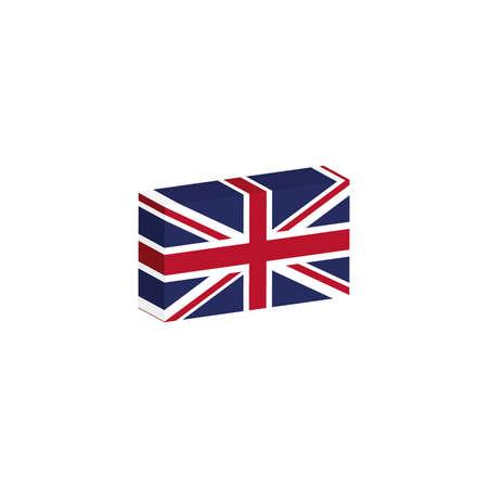 3D isometrische vlag Illustratie van het land van het Verenigd Koninkrijk Stock Illustratie