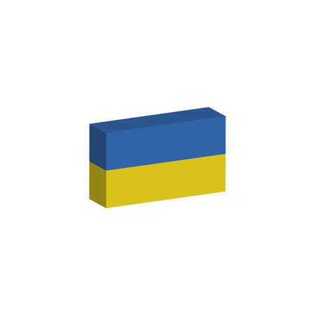 3d isometric flag illustration of the country of Ukraine
